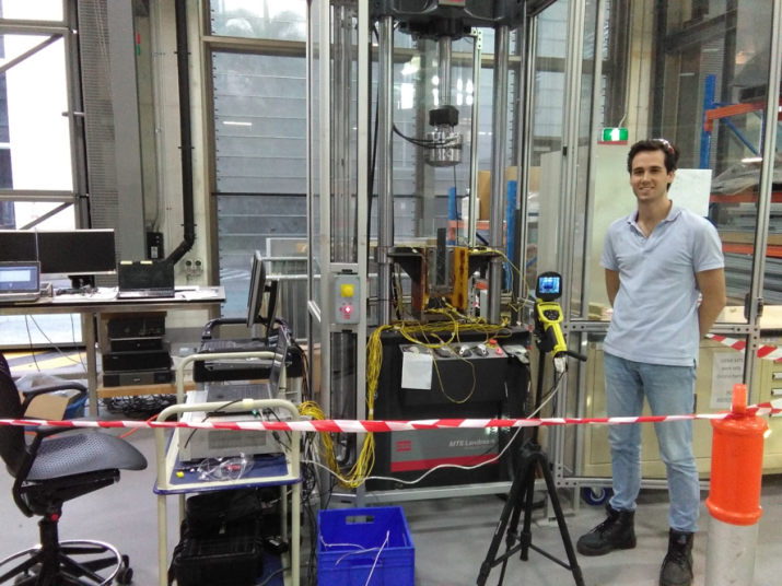 Jose Urgel next to his test setup