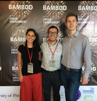 Angela Solarte, Mateo Gutierrez and Ian Pope at the Bamboo in the Urban Environment, Bogor, Indonesia 2017